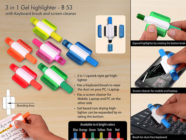 Gel highlighter with Keyboard brush and screen cleaner - B53