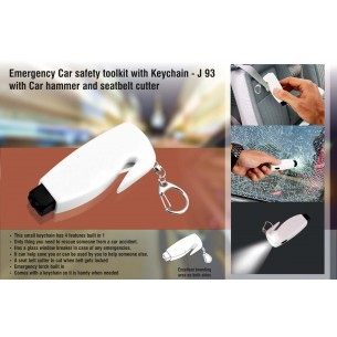 J93 - Emergency Car safety toolkit with Keychain (with Car hammer and seatbelt cutter)