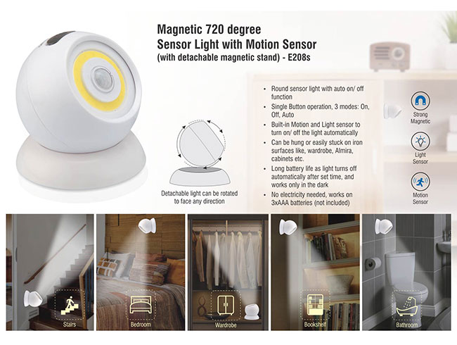 Magnetic 720 degree Sensor light with motion sensor (with detachable magnetic stand) - E208s