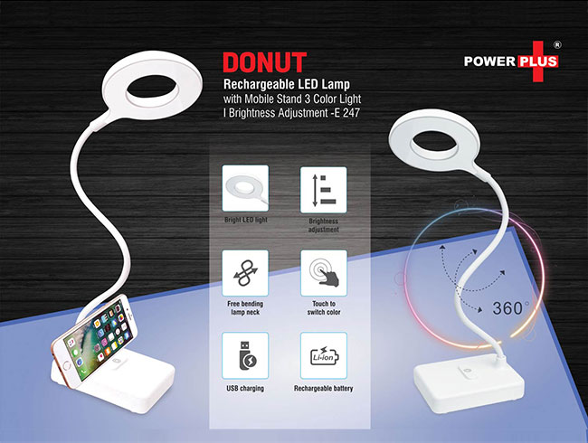 Donut Rechargeable LED lamp with mobile stand | 3 Color light | Brightness adjustment - E247