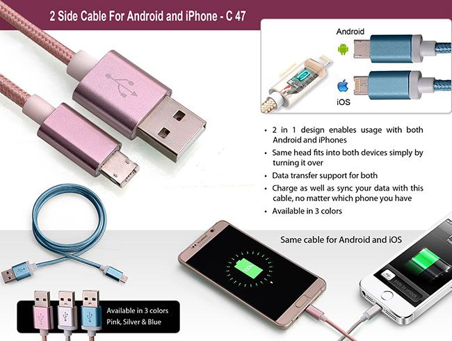 2 side cable for Android and iPhone - C47