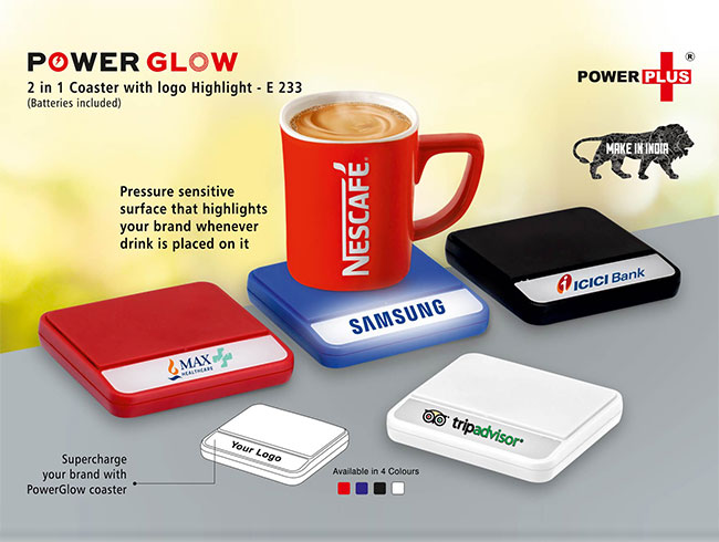 Power Glow coaster with logo highlight (batteries included) - E233