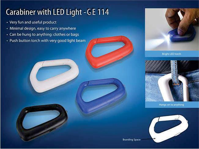 GE114 - Carabiner with LED light (with battery)