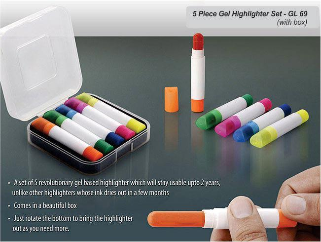 GL69 - 5 pc gel highlighter set (with box)