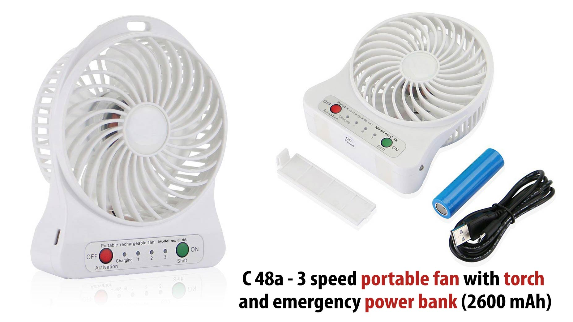 C48A - 3 SPEED PORTABLE FAN WITH TORCH AND EMERGENCY POWER BANK (2600 MAH)