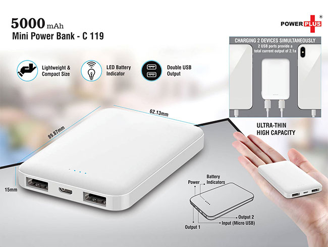Mini power bank 5,000 mAh - C119
