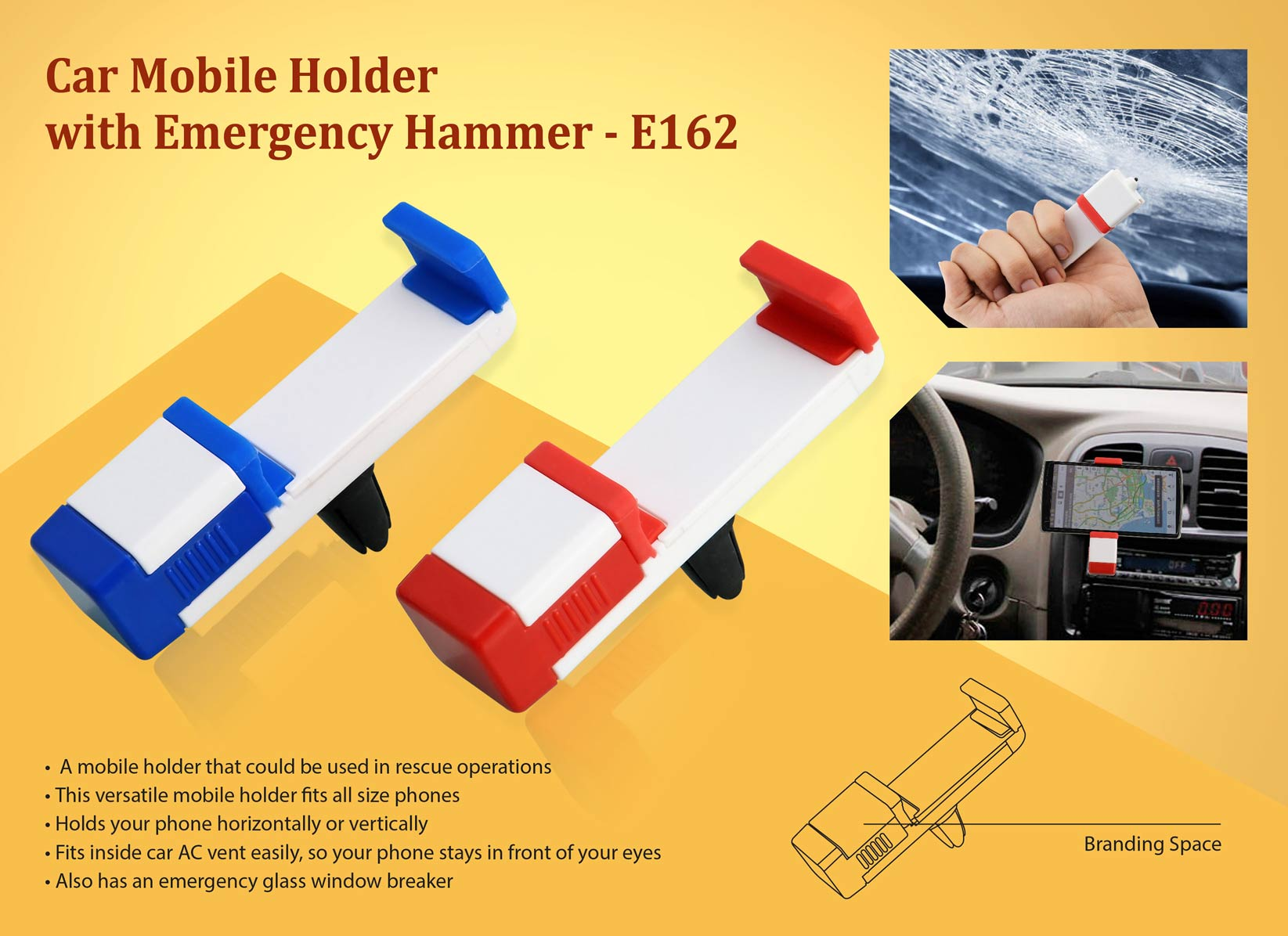 E162 - Car Vent mobile holder with emergency hammer