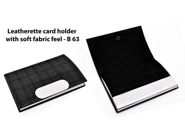 Leatherette Card holder with soft fabric feel - B63