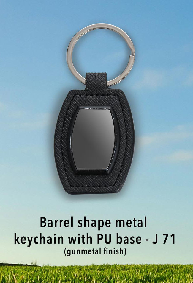 J71 - Barrel shape metal keychain with PU base (gunmetal finish)