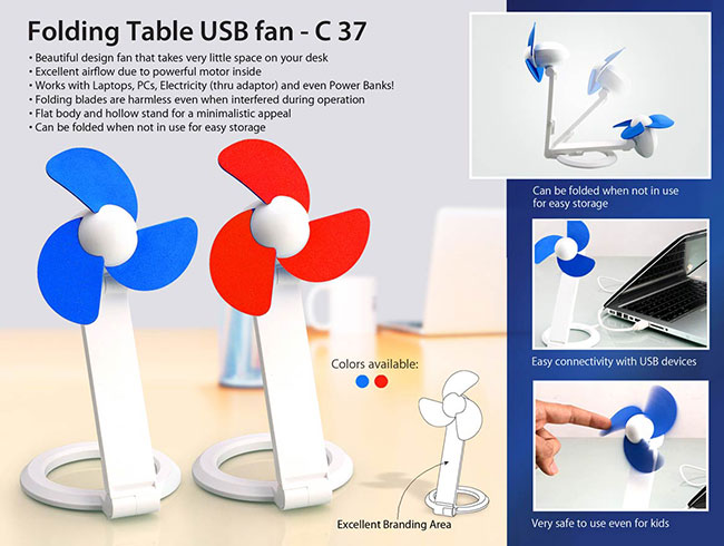 Folding Table USB fan with safety blades and USB cable - C37