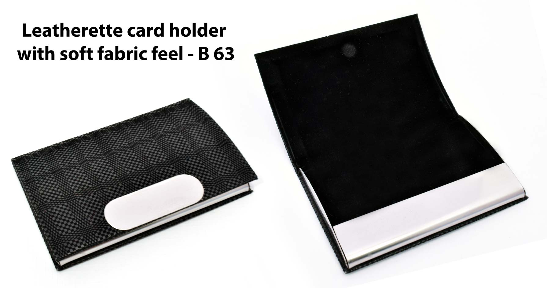 B63 - Leatherette Card holder with soft fabric feel