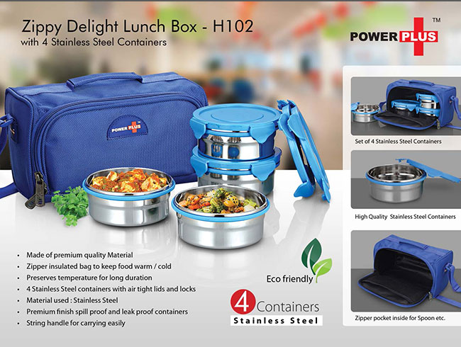 Zippy Delight: 4 container lunch box (steel containers) - H102