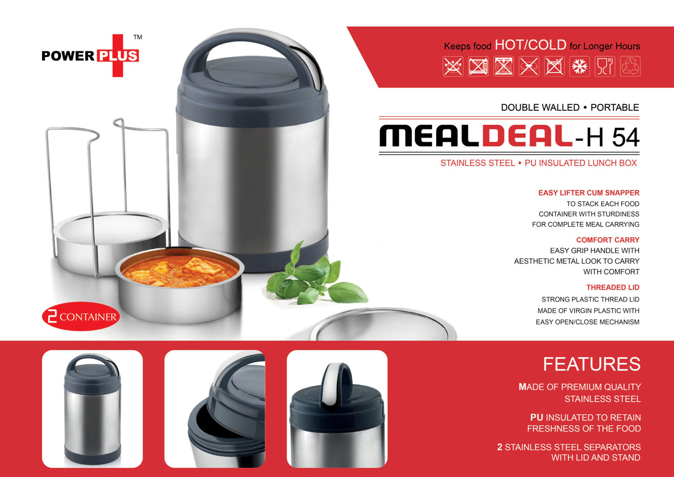 H54 - Power plus Meal Deal insulated SS Lunch box (with stainless steel containers) - 2 containers