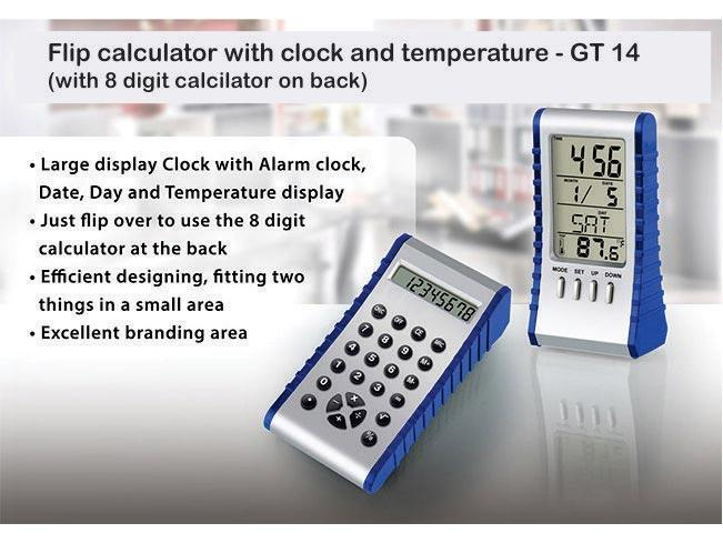 GT14 - Flip calculator with clock and temperature (with 8 digit calculator on back)