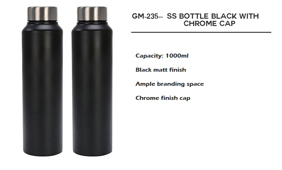 S S Bottle Black With Chrome Cap