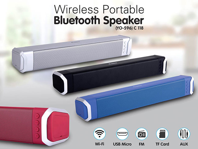 Bluetooth Large Sound bar speaker | with USB / TF card / Aux / FM / Mic in (YO  596) - C118