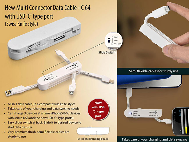 New Multi Connector Data Cable set (Swiss Knife style) (With USB C Type) - C64