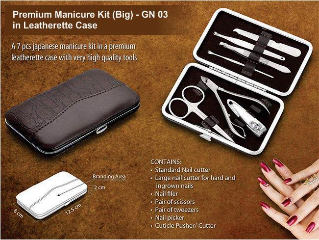 GN03 - Premium manicure kit in leatherette case (7 pc.) - Large