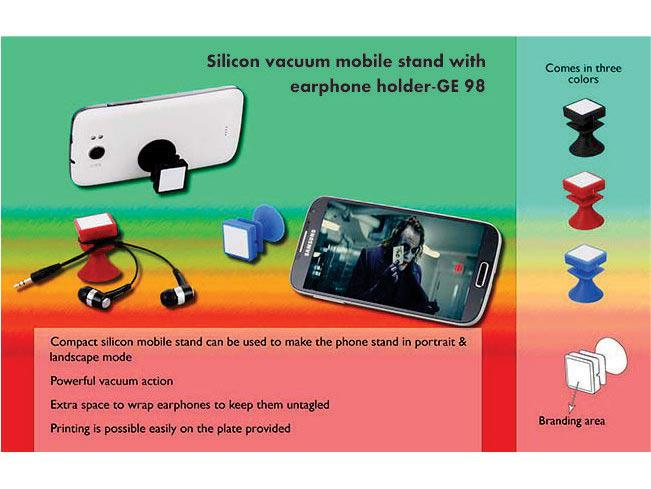GE98 - Silicon vacuum mobile stand with earphone holder
