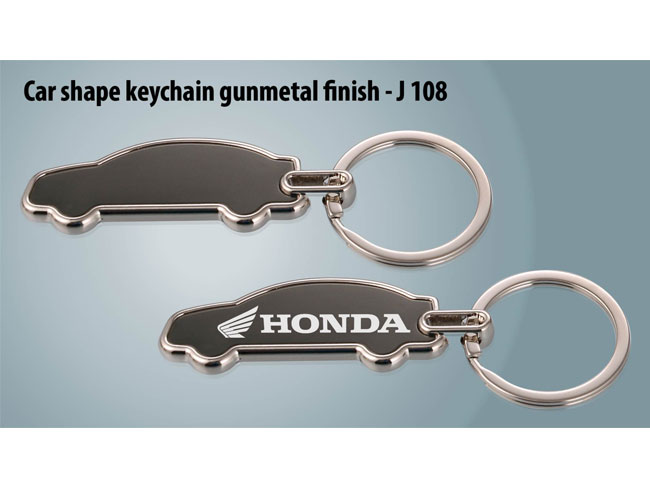 J108 - CAR SHAPE KEYCHAIN GUNMETAL FINISH