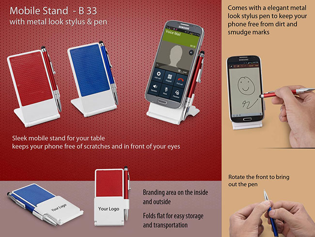 Mobile stand with metal look stylus & pen - B33