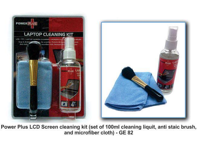 GE82 - Power Plus LCD Screen cleaning kit (Set of 100 ml cleaning liquid, anti static brush, and a microfiber cloth)