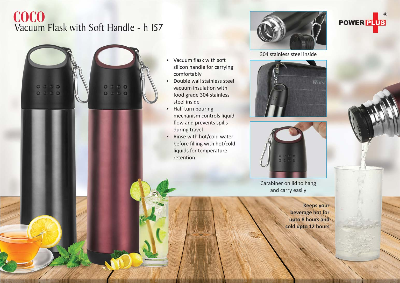 H157 - Coco Vacuum Flask with soft handle (500 ml approx)