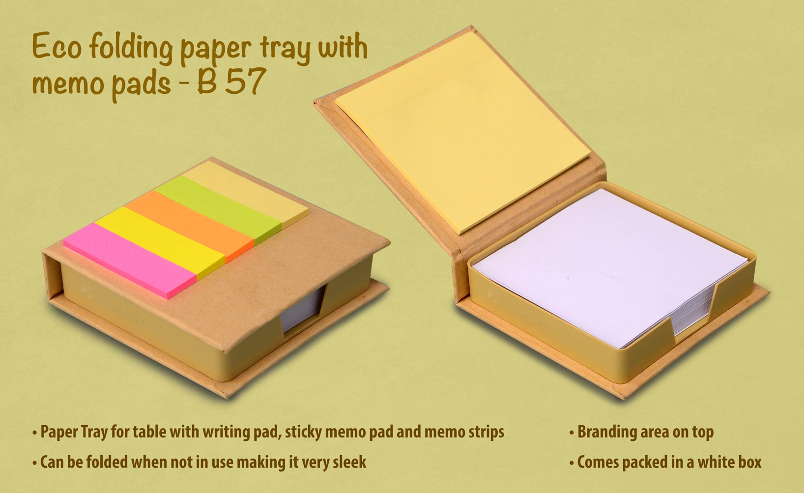 B57 - Eco folding paper tray with memo pads