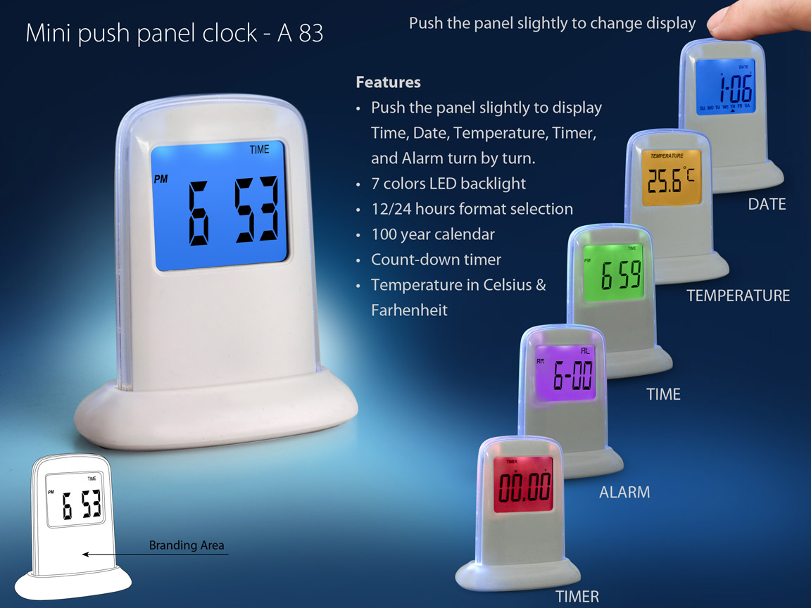 A83 - Mini push panel clock