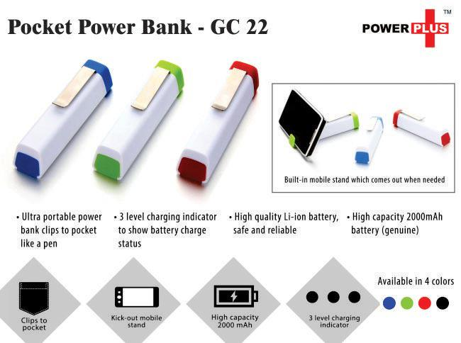 GC22 - Pocket Power Bank (3 in 1)