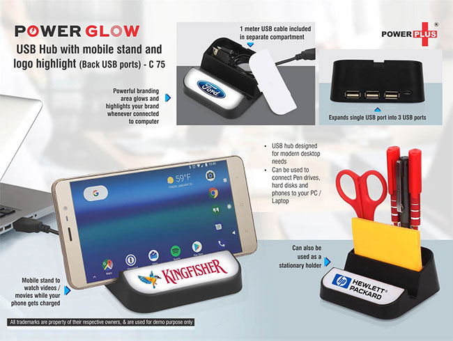 Power Glow USB hub with mobile stand and logo highlight (Back USB ports) - C75
