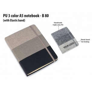 B80 - PU 3 color A5 notebook with elastic fastener