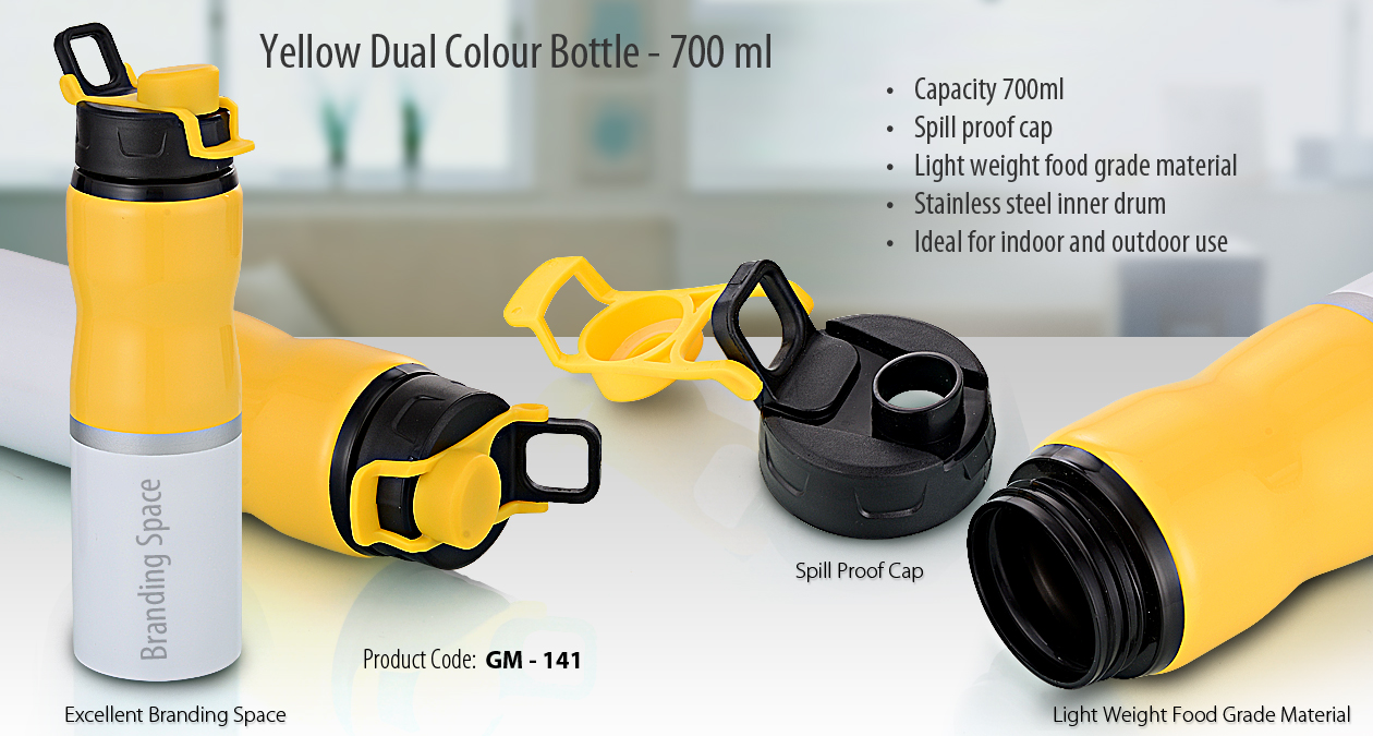 YELLOW DUAL COLOR BOTTLE WITH CAP