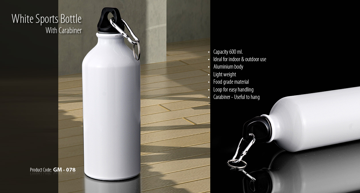 WHITE SPORTS BOTTLE WITH CARABINER-600 ML
