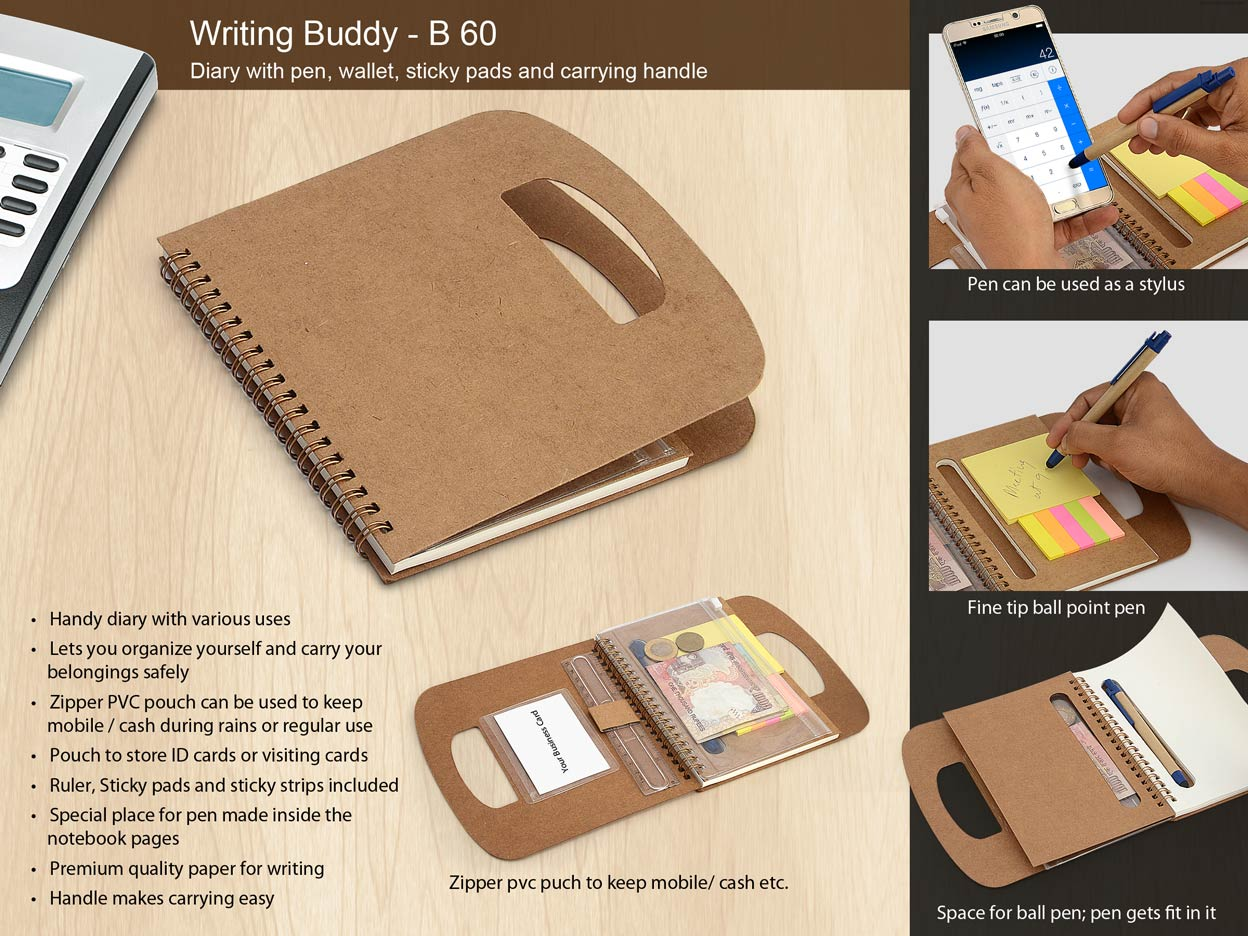 B60 - WRITING BUDDY: DIARY WITH PEN, WALLET, STICKY PADS AND CARRYING HANDLE