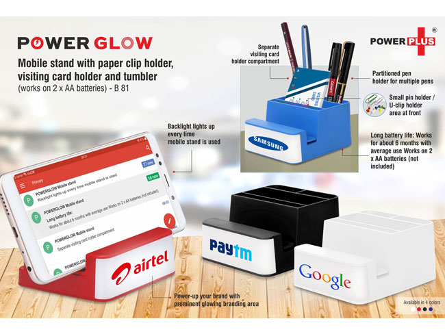 B81 - POWERGLOW MOBILE STAND WITH PAPER CLIP HOLDER, VISITING CARD HOLDER AND TUMBLER (WORKS ON 2 X AA BATTERIES)