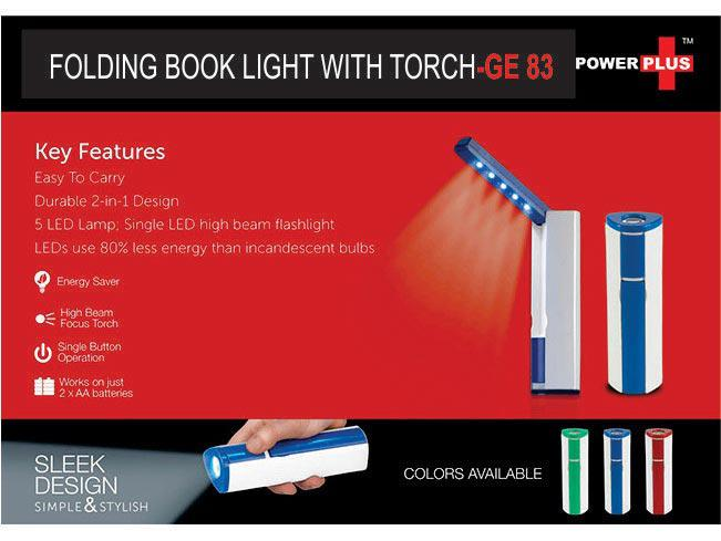 GE83 - Folding book light with torch (works on 2xAA batteries; not included)