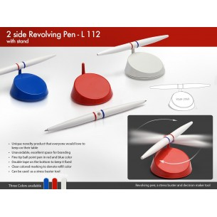 L112 - 2 SIDE REVOLVING PEN WITH STAND