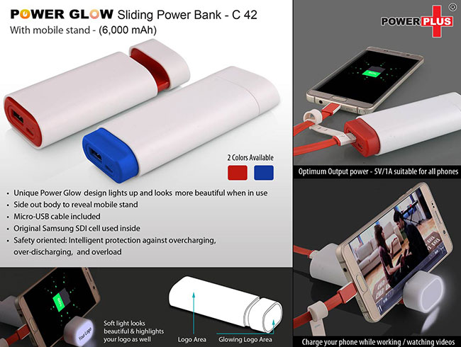 Power Glow Sliding power bank with mobile stand (6,000 mAh) - C42
