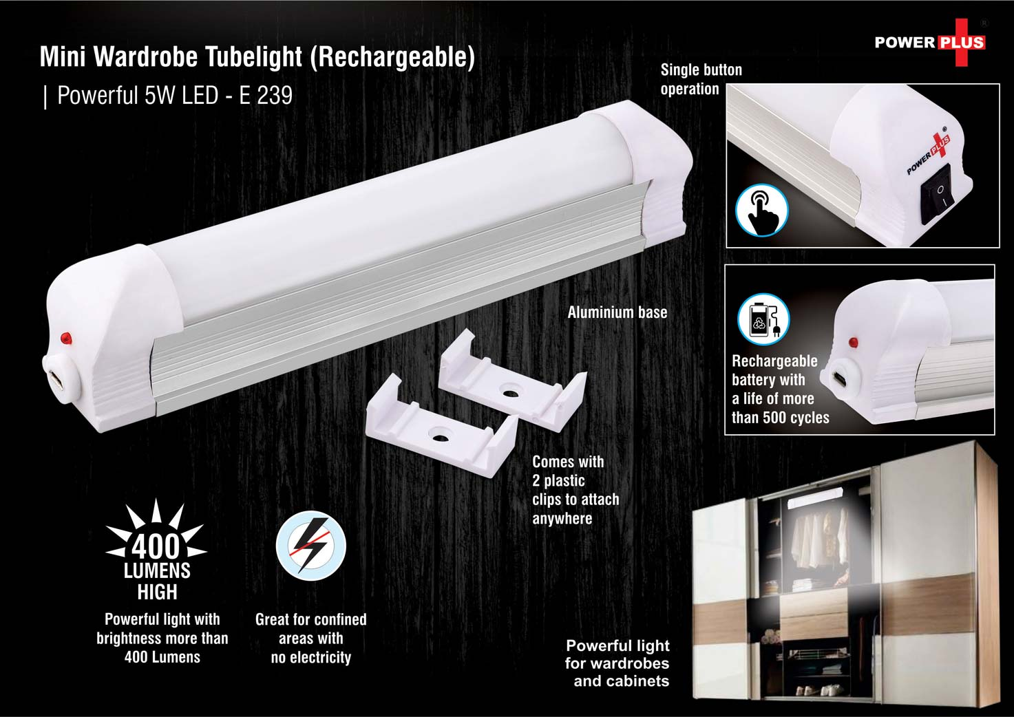 E239 - Mini wardrobe tubelight (Rechargeable) | Powerful 5W LED