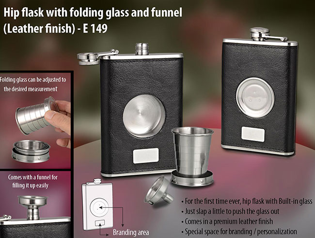 Hip flask with folding glass and funnel (Leather finish) - E149