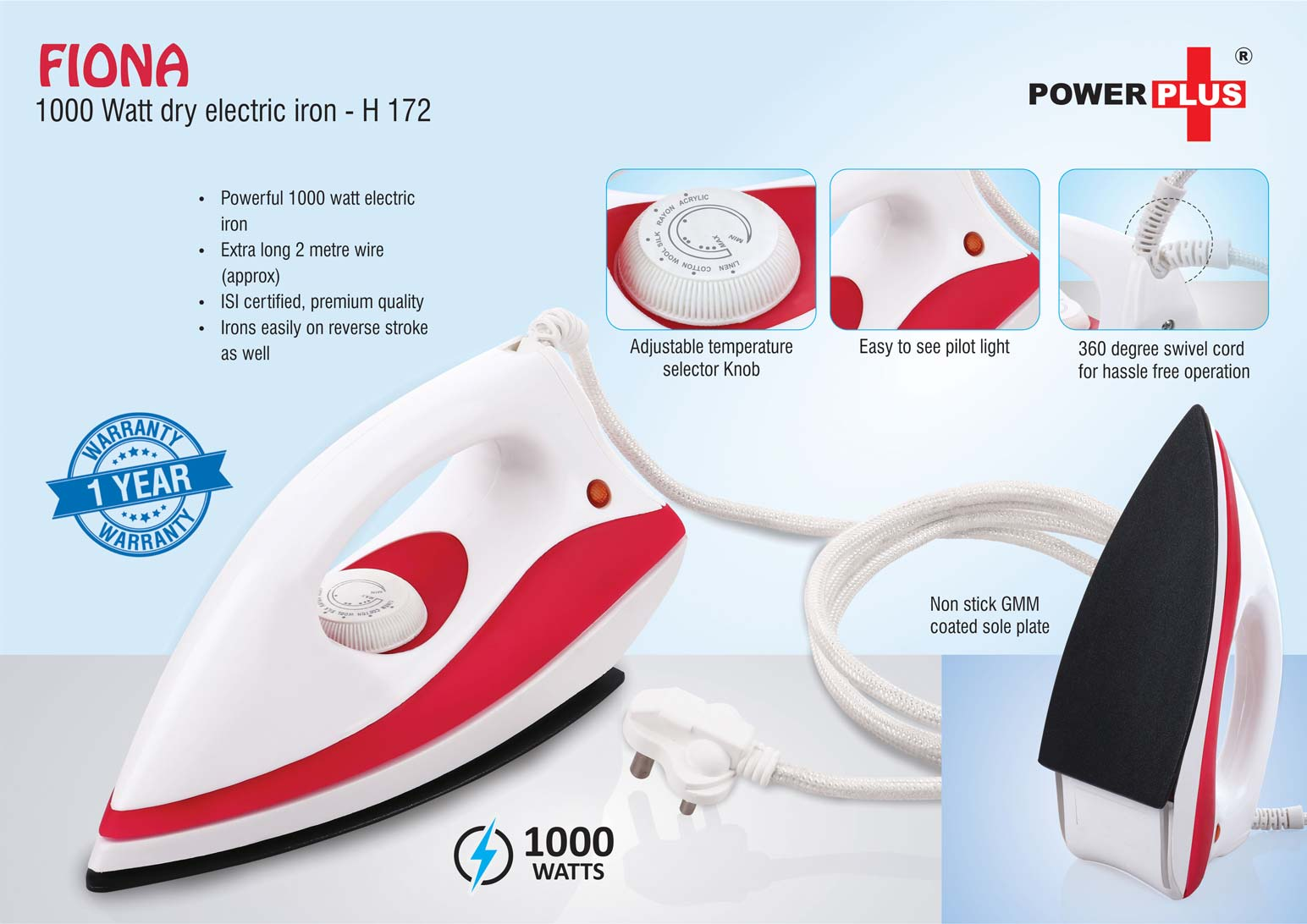 H172 - Fiona: 1000 Watt dry electric iron by Power Plus | 1 year warranty