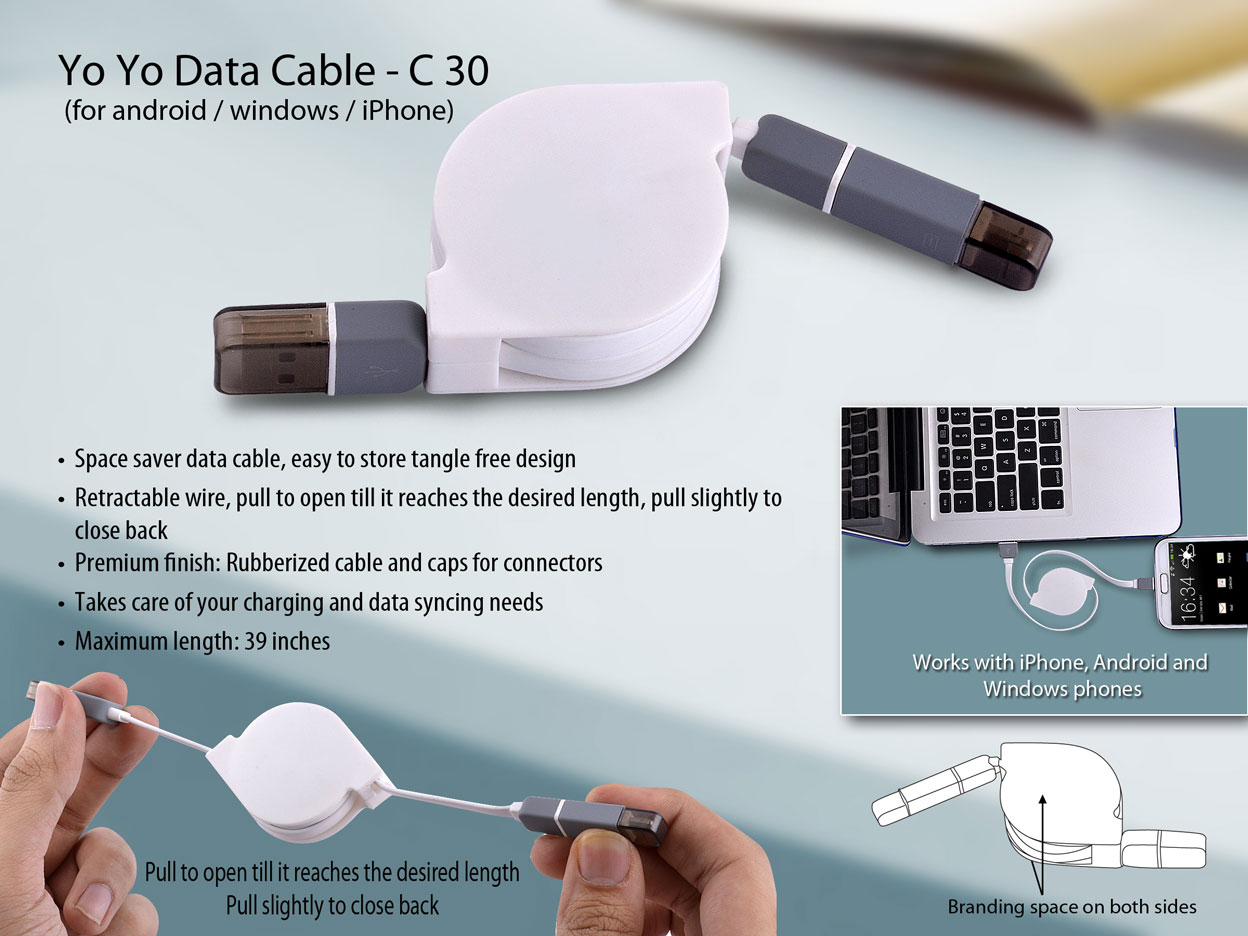 C30 - Yo yo data cable (for android / windows / iPhone)