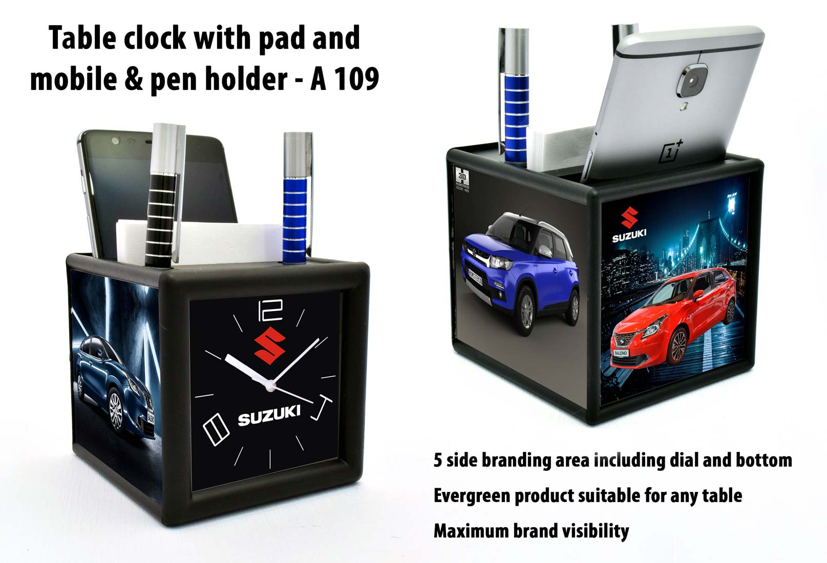 A109 - Table clock with pad and mobile & pen holder