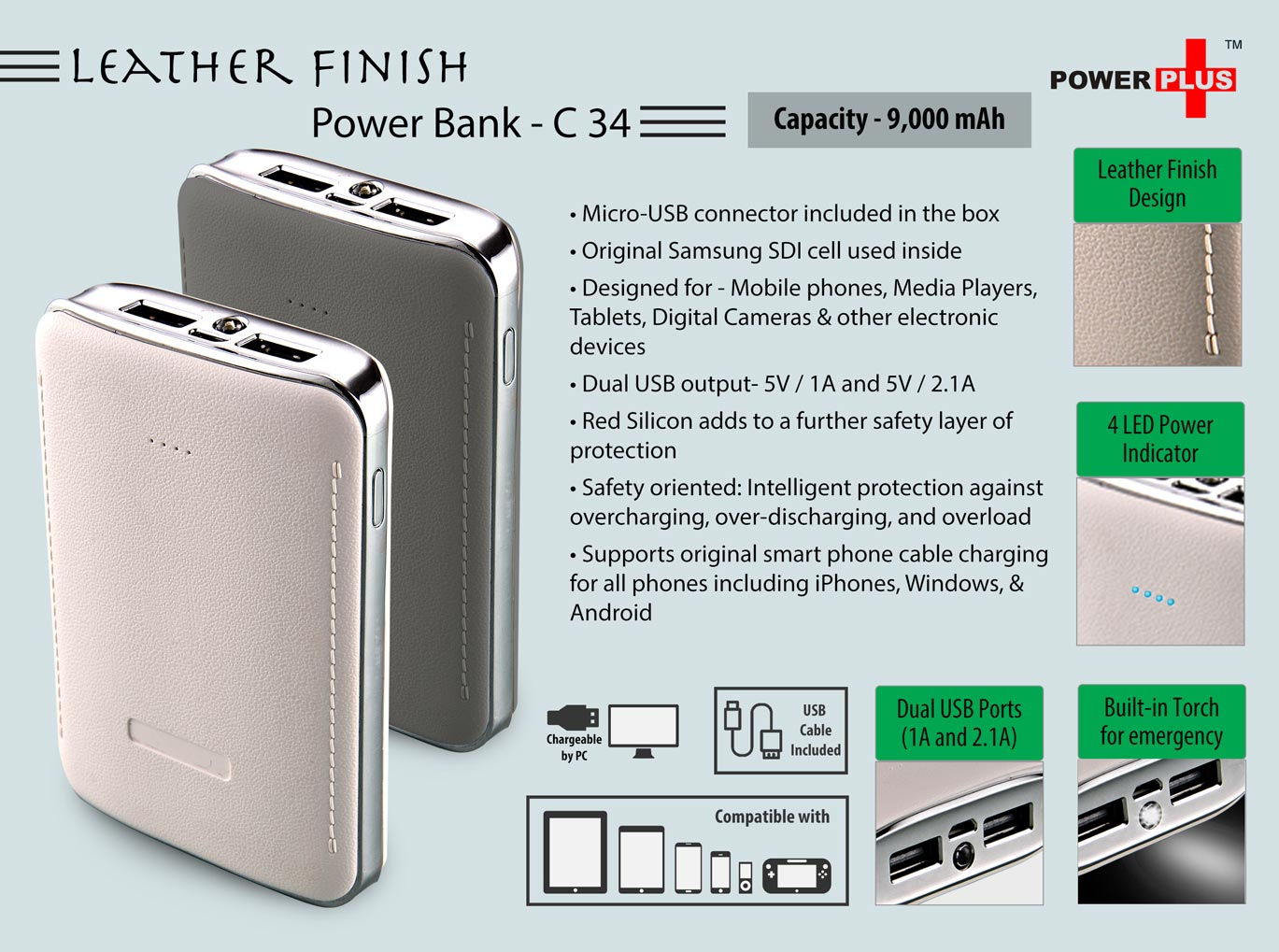 C34- Leather Finish Power Bank (Capacity - 9,000 mAh)
