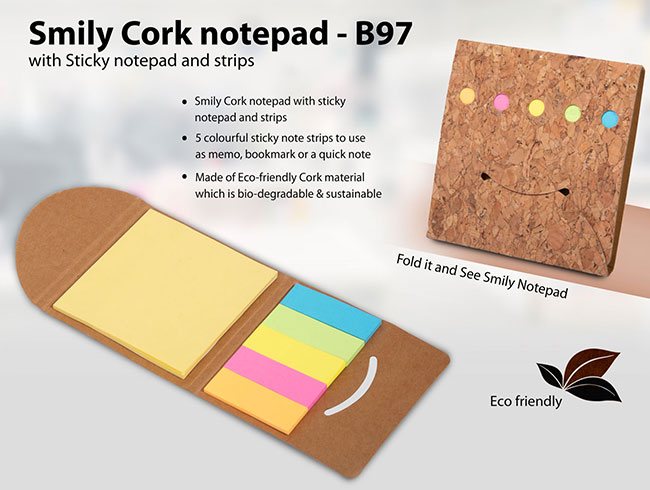 Smiley Cork notepad with Sticky notepad and strips - B97