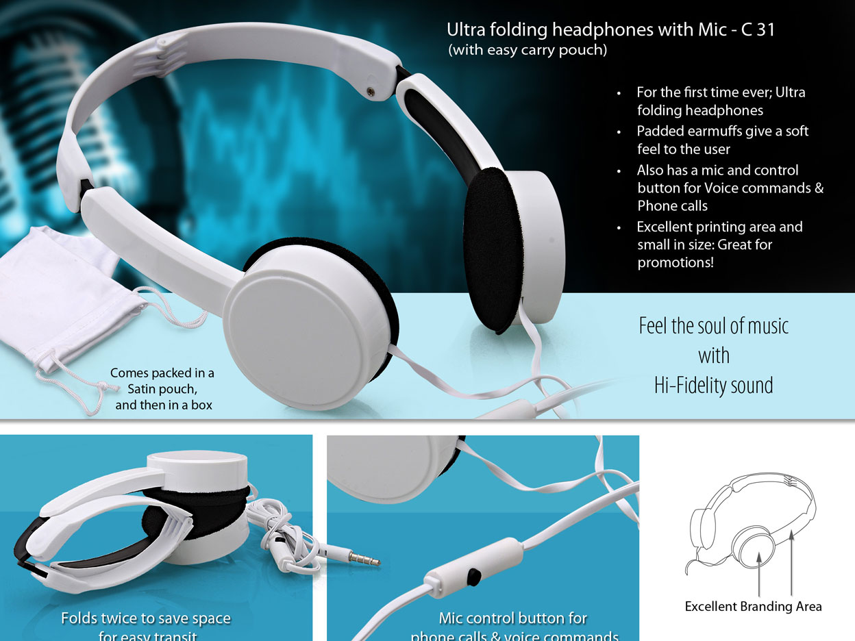 C31 - Ultra folding headphone with Mic