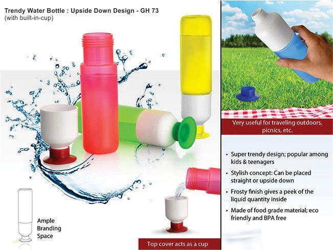 GH73 - Trendy Water bottle: Upside down design (with built-in cup)