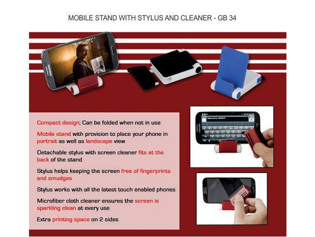 GB34 - Folding mobile stand with detachable stylus and cleaner