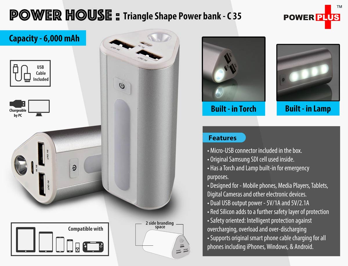 C35 - Power House : Triangle shape Power Bank (6000 mAh)